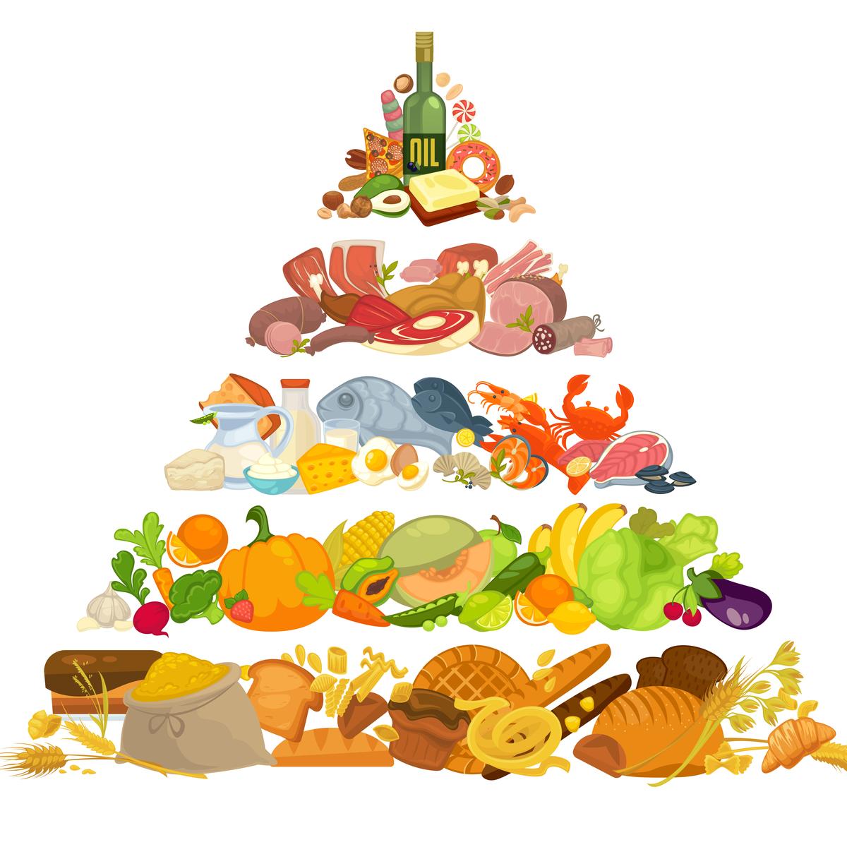 Baza piramidei alimentaţiei sănătoase o reprezintă, oricum, alimentele de origine vegetală. Adică legume, zarzavaturi, fructe, cereale preponderent integrale, uleiuri vegetale, seminţe şi fructe oleaginoase.