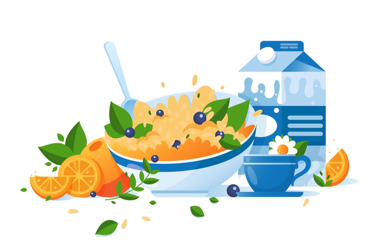 alimente care iti dau energie pentru intreaga zi. bol cu cereale integrale, lapte, ceai si portocale