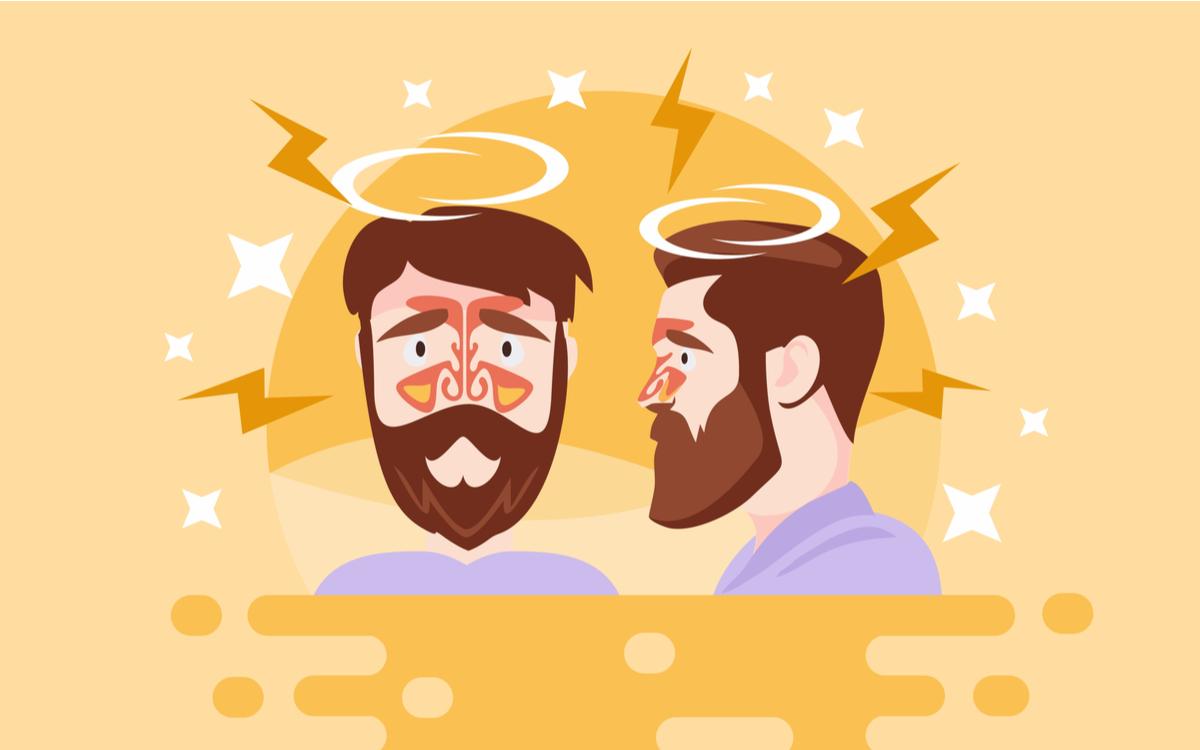 sinuzita simptome si tratament. barbat cu durere de cap, cu reprezentarea celor patru perechi de sinusuri, de la nivelul naslui, obrajilor, fruntii si in spatele ochilor