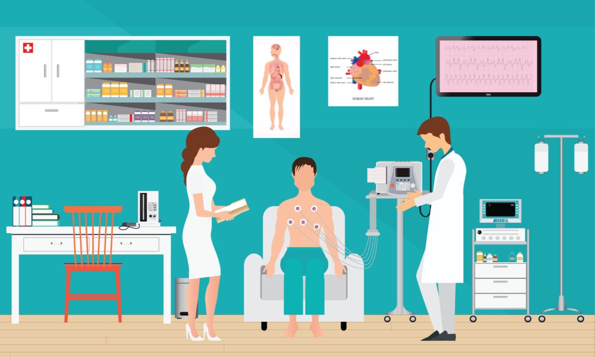 analize medicale obligatorii dupa 40 de ani. barbat la cardiologie face ekg