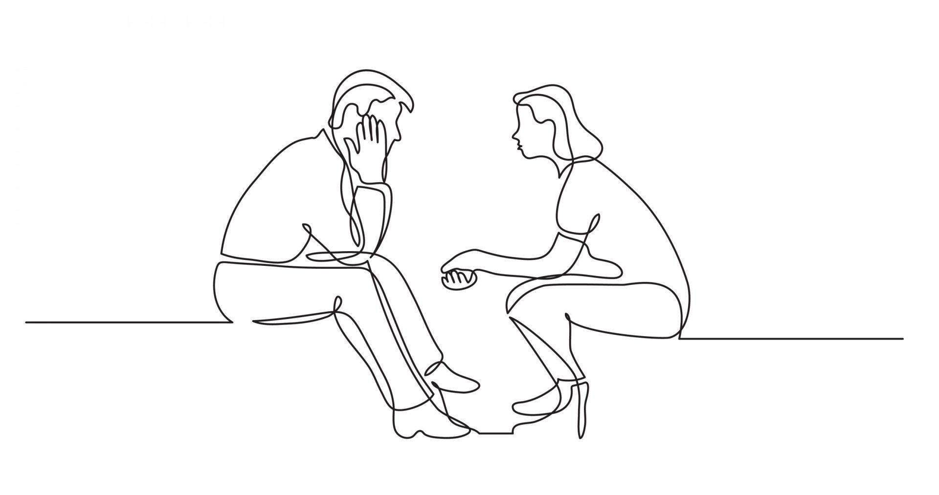 Cuplu discutând în mod asertiv