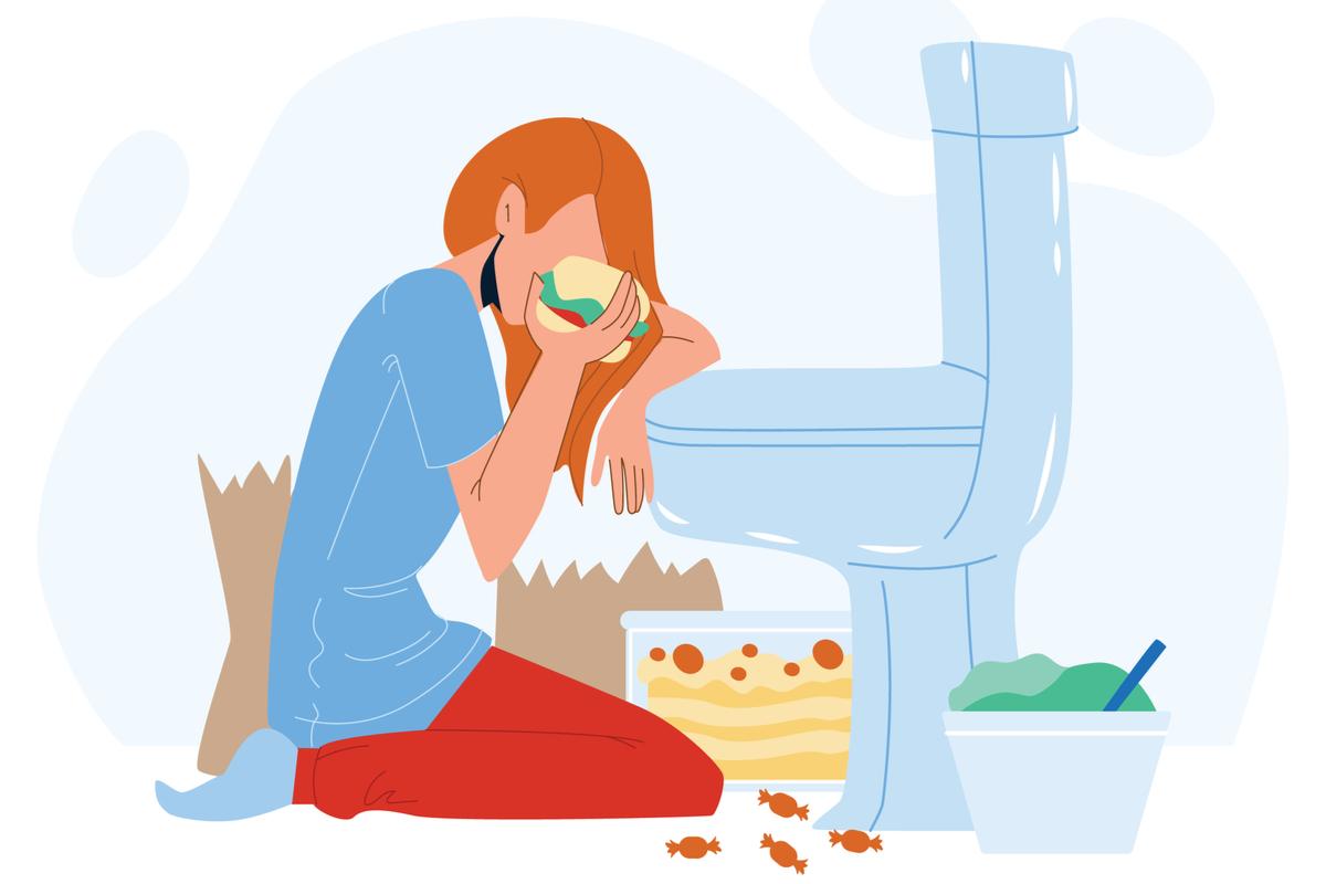 bulimie cauze si tratament corect. femeie care mananca tort langa vasul de toaleta