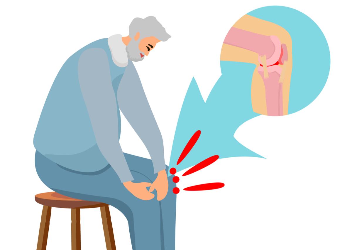 dureri de articulatii cauze suplimente. Bărbat în vârstă cu durere de genunchi si detaliu pe articulatia genunchiului