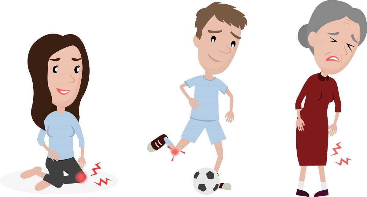 dureri de genunchi cauze. femeie tanara care sta in genunchi, fotbalist si femeie in varsta, toti cu dureri de genunchi