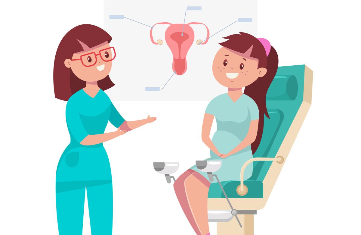 pachet analize femei. femeie tanara la ginecolog
