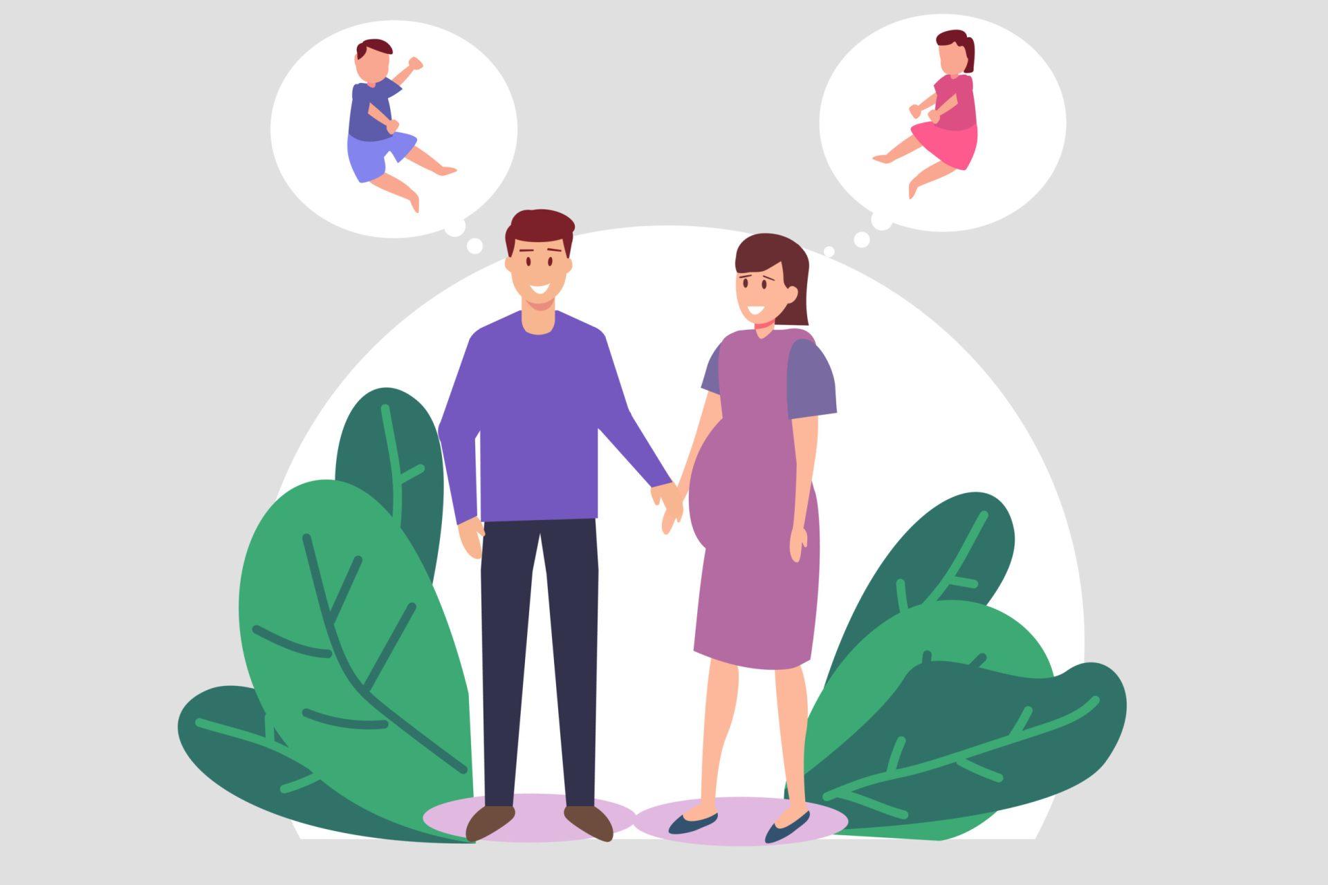 Părinți imaginându-și sexul copilului