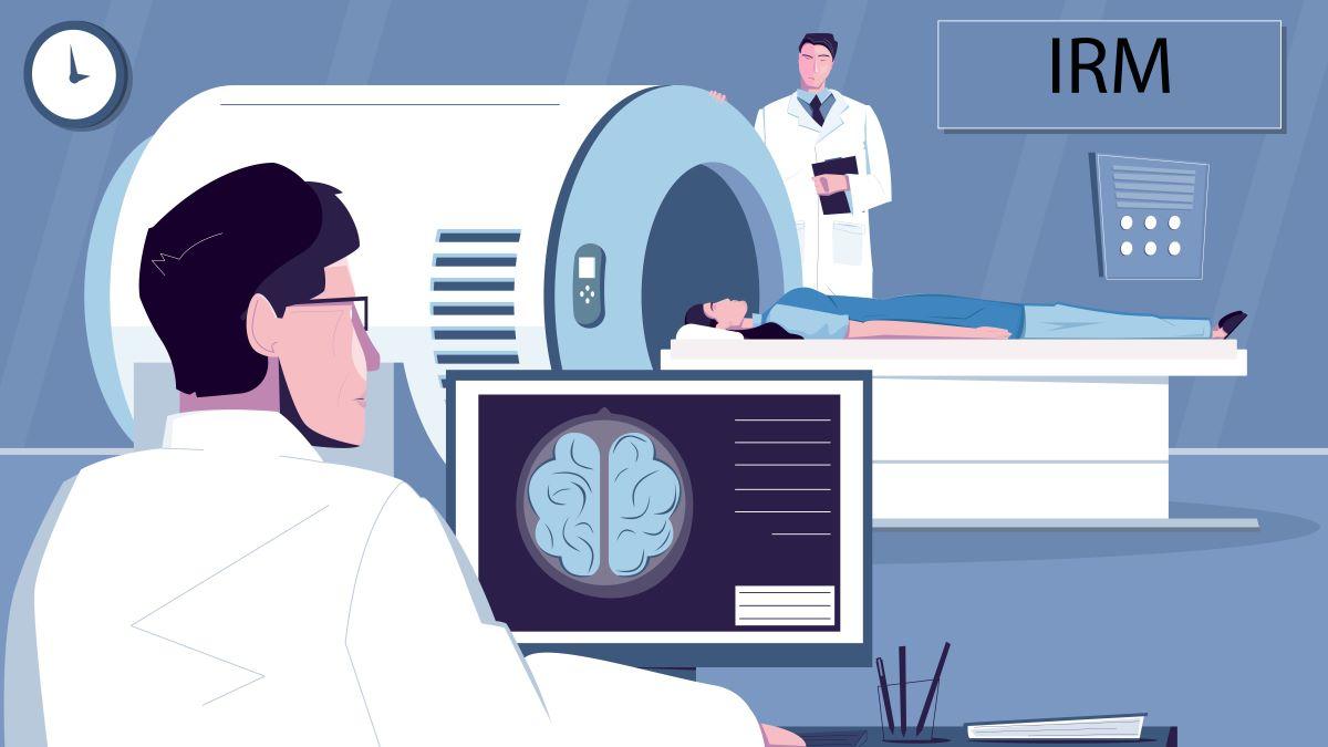 ce este un rmn abdominal cerebral pregatire. Femeie la RMN cu tehnician si medic