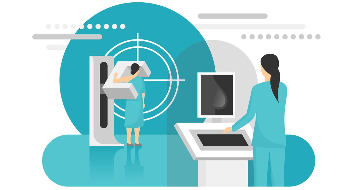 mamografie cu tomosinteza indicatii si preturi. o femeie realizeaza o mamografie cu tomosinteza si un asistent medical de radiologie controlează aparatul de la distanta