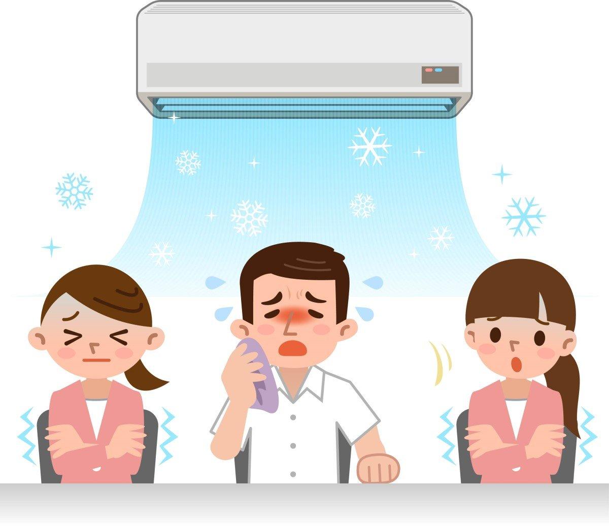 boli aer conditionat rinite conjunctivite sinuzite si alergie la frig. colegi de munca care tremura si tusesc sub aparatul de aer conditionat
