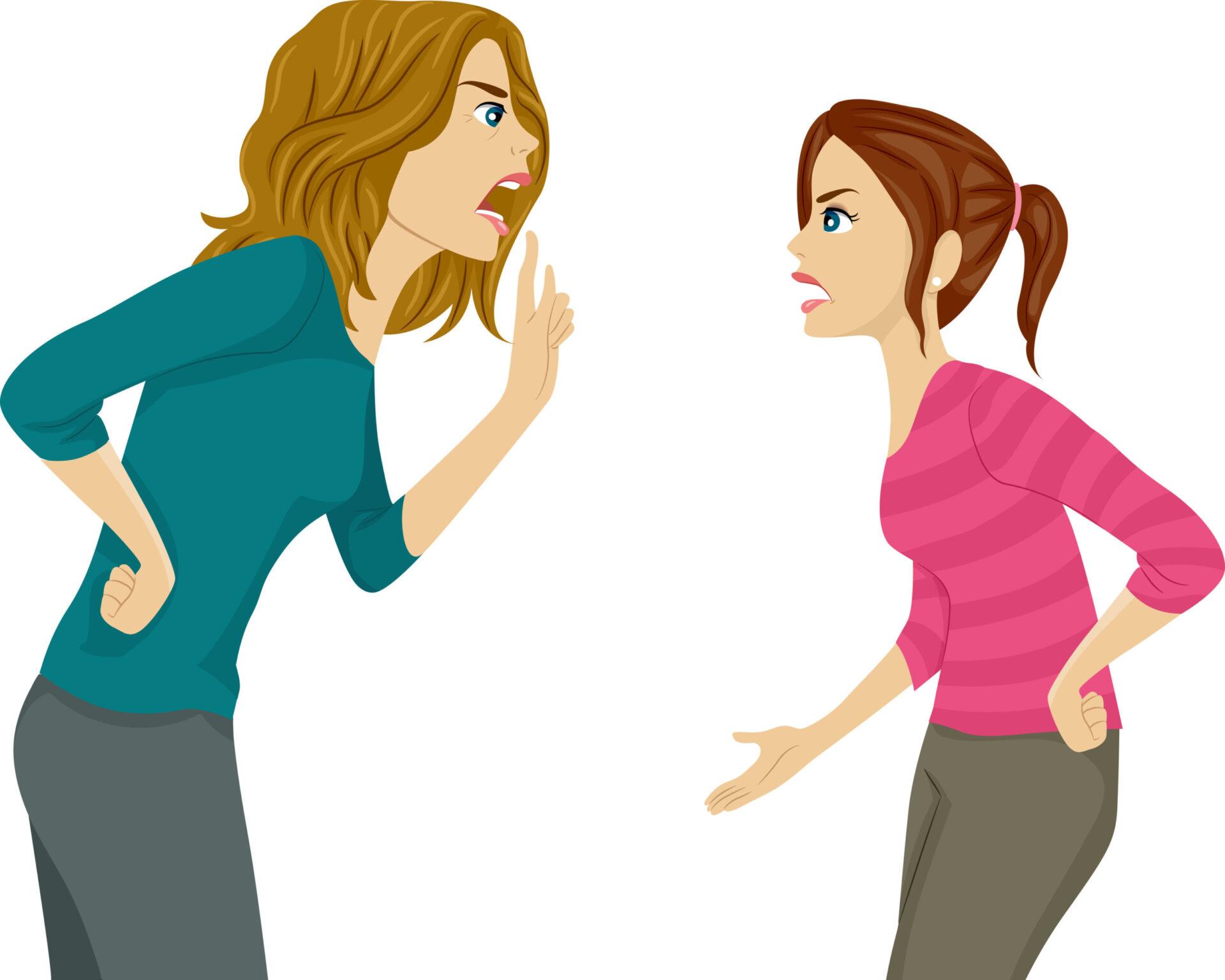 fiică certându-se cu mama care intervine în relația ei de cuplu