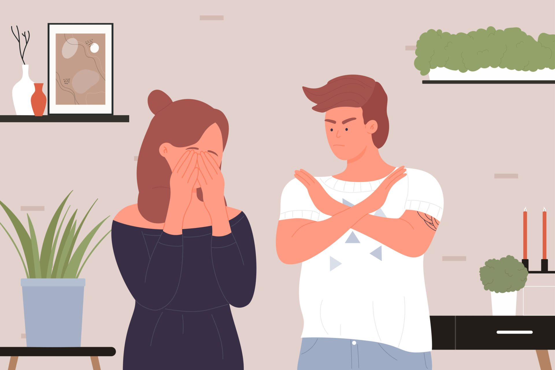 Bărbat și femeie având un conflict în cuplu