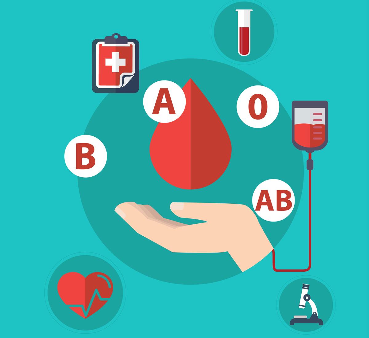 grupe de sange cele mai rare cele mai frecvente si importanta lor. Cele patru grupe de sange principale, o eprubeta, o punga de transfuzie si un microscop