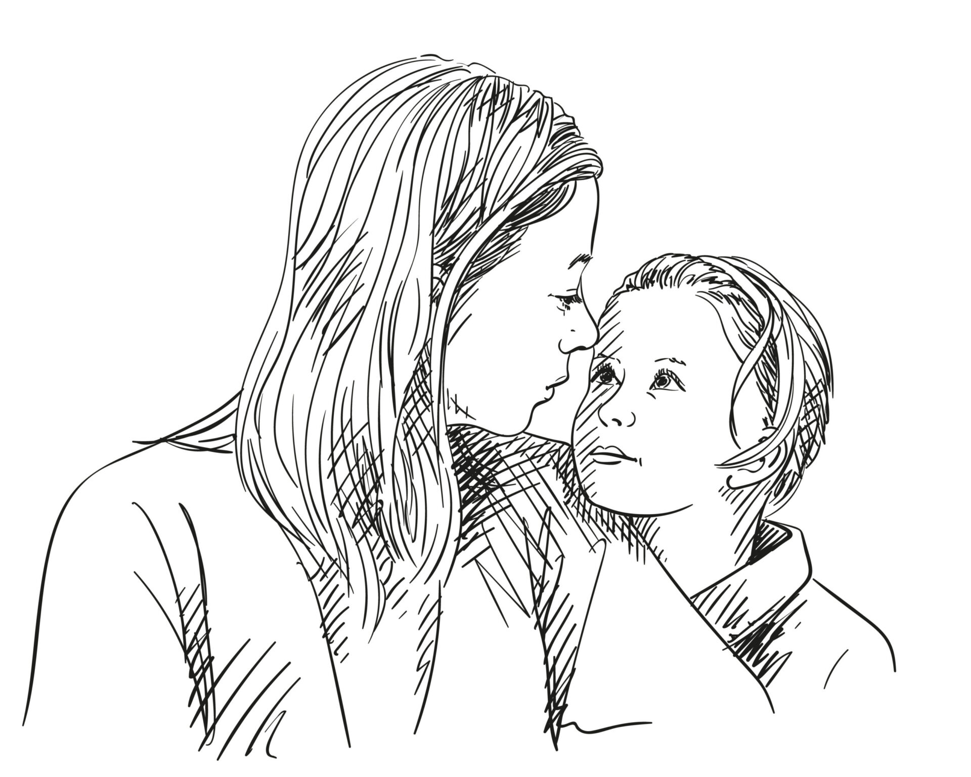 mamă conectată cu copilul ei