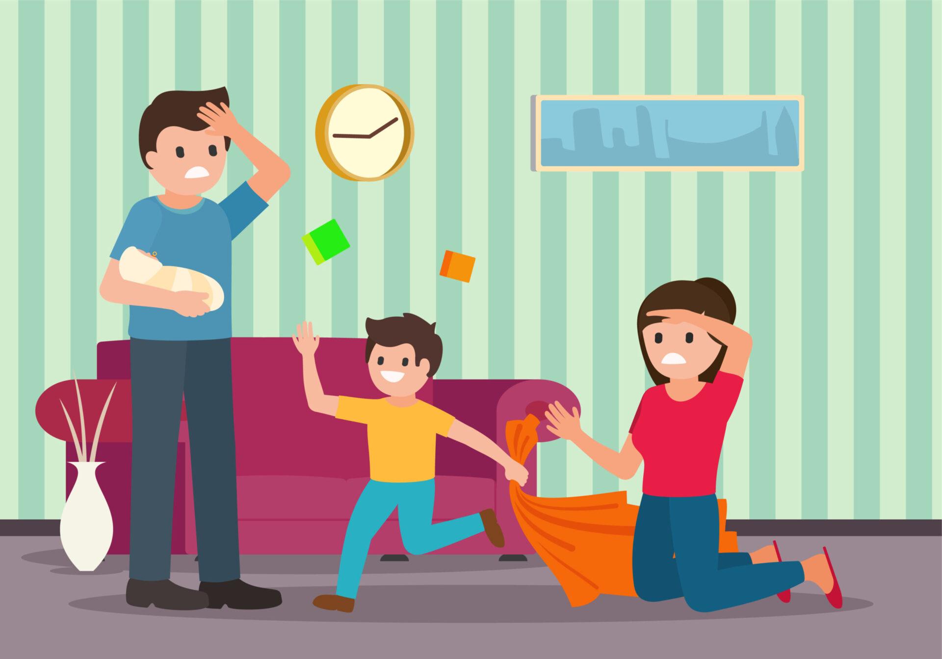 părinți obosiți ocupându-se de copii
