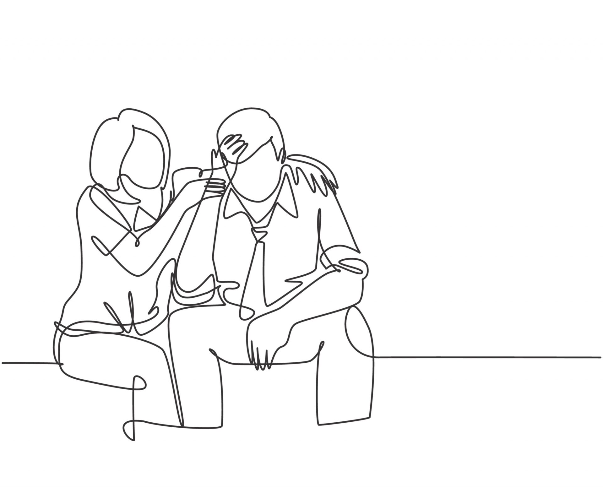 femeie consolându-și partenerul cu depresie