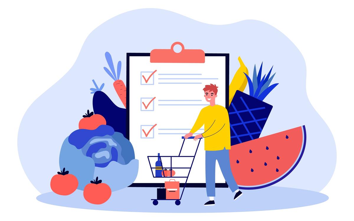 indicele glicemic cel mai bun instrument de control al glicemiei. barbat cu lista de cumparaturi de fructe și legume